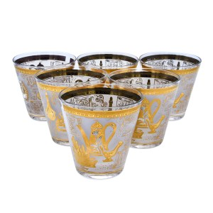 28447 2 - Georges Briard White & Gold Old Fashioned Glasses, Set of Eight (8)