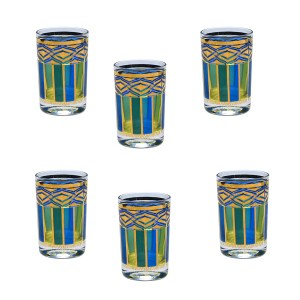 Culver Blue, Green & Gold Juice Glasses, Set of Eight (8)