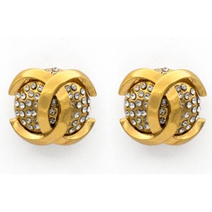 Chanel 1986 Pave Dome Logo Overlay Earrings