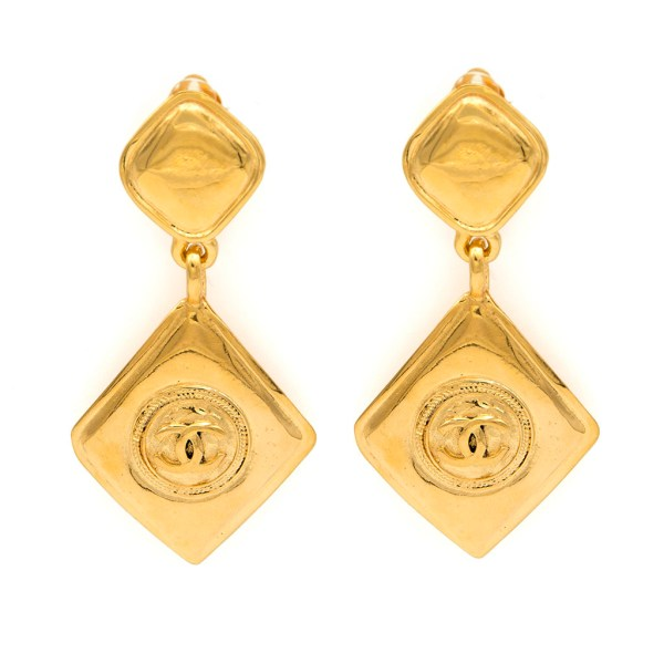 Chanel 1990 Double Diamond Earrings