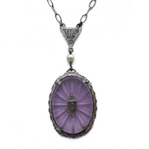 Art Deco Blush Camphor Glass Pendant Necklace