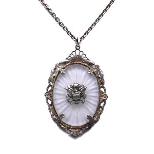 WWII Camphor Glass & Sterling Necklace