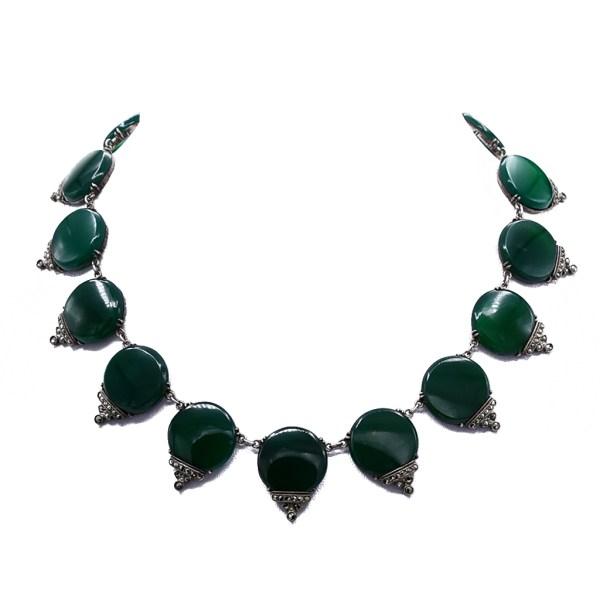 Art Deco Chrysoprase & Marcasite Necklace, 1925