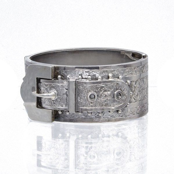 Victorian Sterling Engraved Bangle with Applied Buckle, 1885