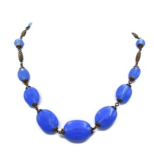 Art Deco Cornflower Czech Blue Glass Bead Necklace with Gold Filligree
