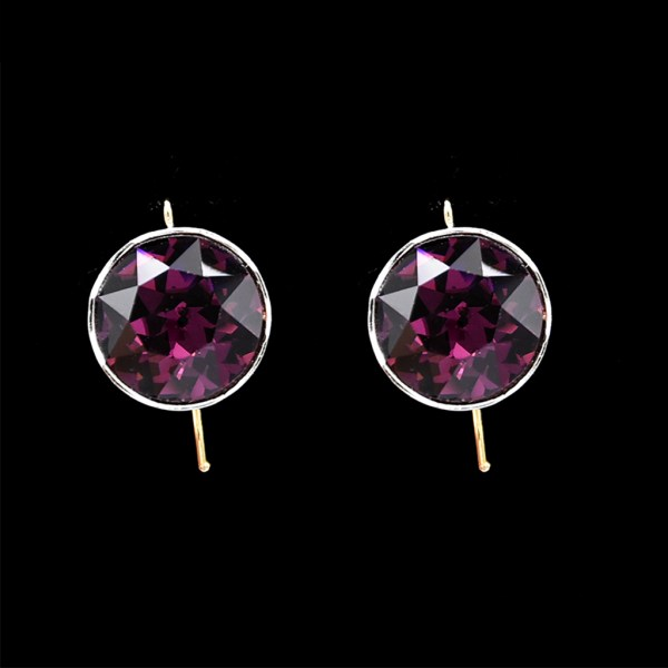 Roy Rover Large Amethyst Paste Dangle Earrings in 14k Gold