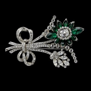 Coro Rhodium Plated Clear & Emerald Paste Floral Sprig Brooch, 1935