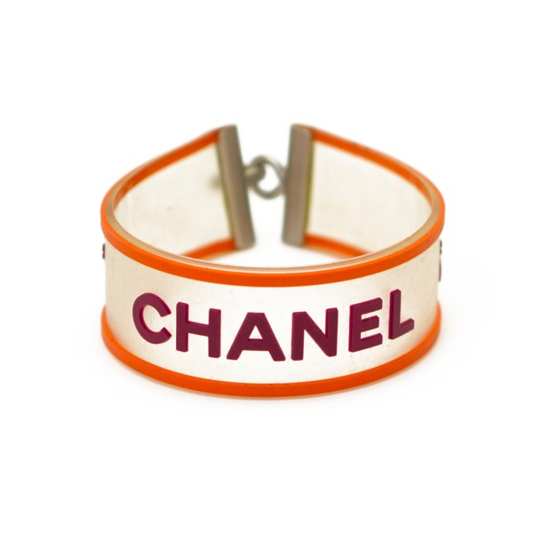 Chanel Clear Rubber Bracelet with Purple & Orange Accents, Spring 2001