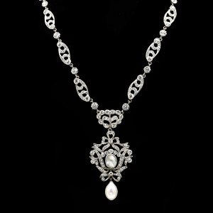 Edwardian 800 Silver, Paste, & Freshwater Pearl Bow Pendant Necklace, 1915