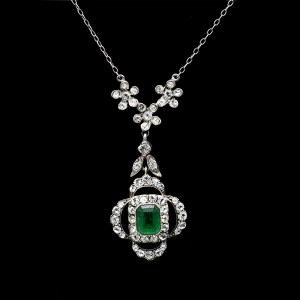 Edwardian Sterling Quatrefoil Pendant With Emerald & Clear Paste, 1915