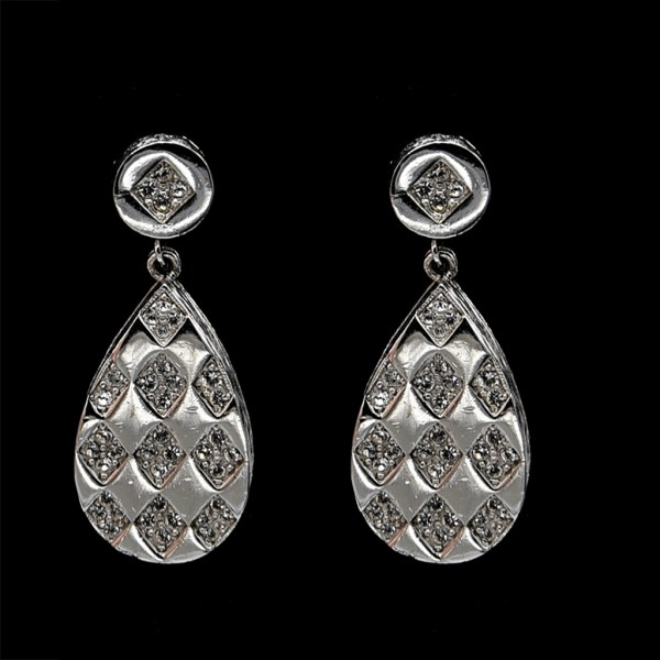 Eisenberg Rhodium Plated Modernist Harlequin Paste Drop Earrings, 1975