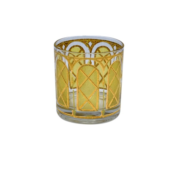 Culver Yellow & Gold Trellis Rocks Glasses