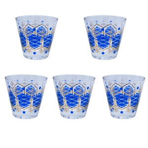 Nordic Libbey Blue & Gold Fleur de Lys Double Old Fashioned Glasses