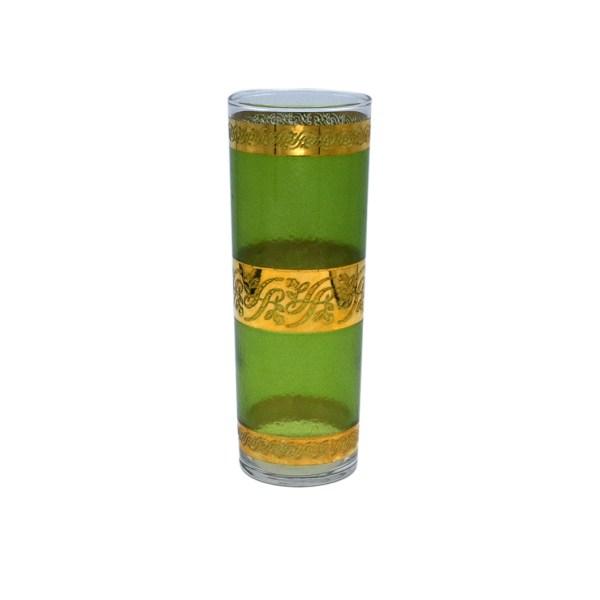Mid Century Green & Gold Tom Collins Highball Glass
