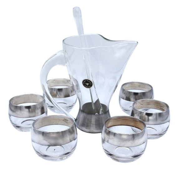 Dorothy Thorpe Silver Stripe Roly Poly Martini Glasses with Pitcher & Stirrer, Set of Six (6)