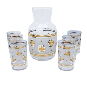 Federal Glass Frosted White & Gold Fleur De Lis Juice Glasses & Carafe, Set of Six (6)