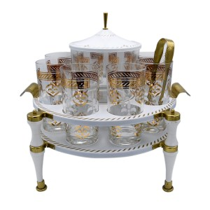 White & Gold Fleur de lis Highballs & Ice Bucket in Caddy
