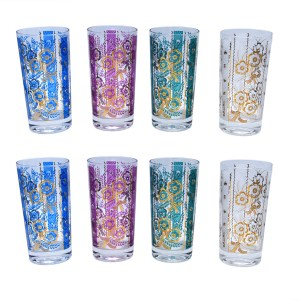 Fred Press Multicolor & Gold Floral Print Highballs