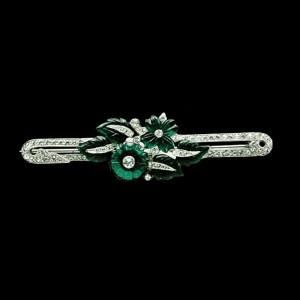 Art Deco Unsigned Mazer Bros. Rhodium Plated Emerald Glass & Paste Bar Pin, 1925