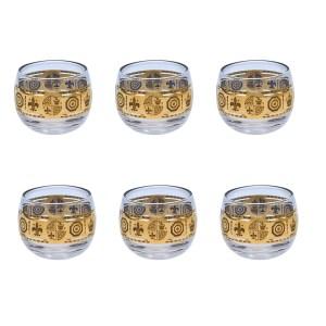 Vito Bari Fleur de Lis & Royal Crown Motif Roly Poly Glasses, Set of Six (6)
