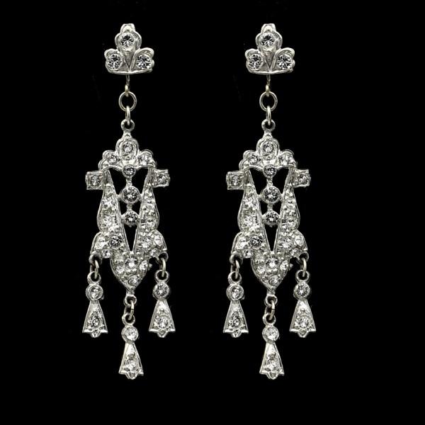 Art Deco Trefoil Paste Dangle Earrings, 1930