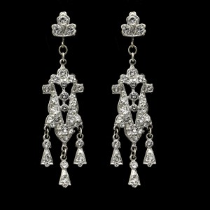 Art Deco Trefoil Paste Dangle Earrings, 1930