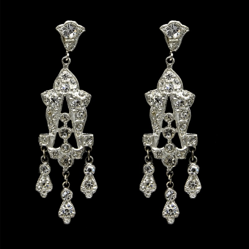 Edwardian Paste Bell-top Dangling Earrings, 1915