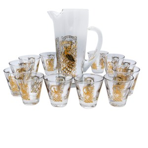 Osborne Kemper Thomas Crystal Peacock Pitcher & Cordial Glasses, Set of Twelve (12)