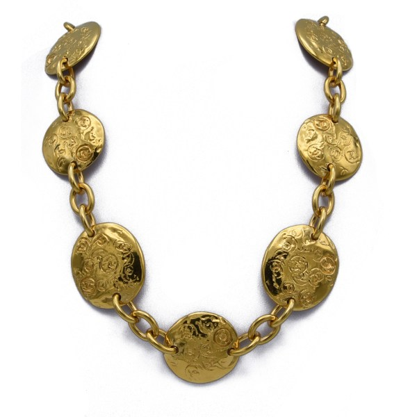 """Chanel 31 1/2"""" Disk Necklace with Oval Pendant Charm, 1990"""