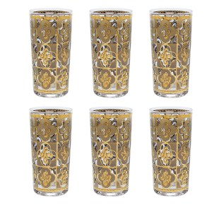 Culver Cream & 22k Gold Quatrefoil Highballs, Set of Six (6)