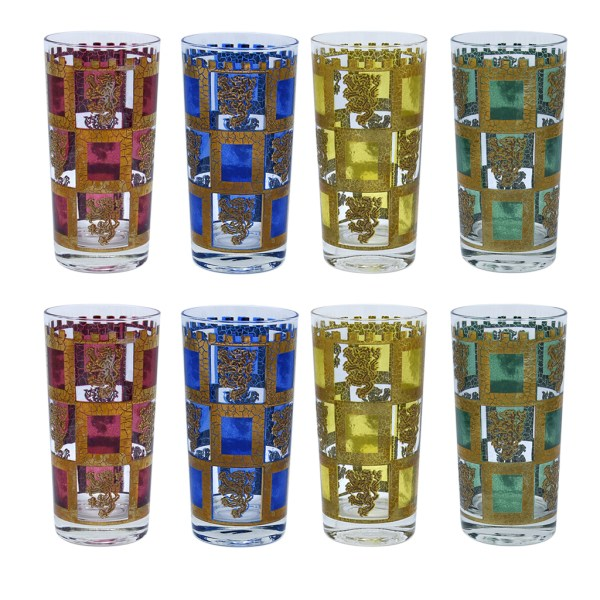 "Culver Multi Color & 22k Gold ""Henry VIII"" Highball Glasses, Set of Eight"