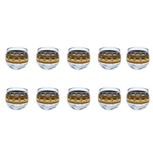 Set of 10 (ten) Culver Festival Gold Wheat 22kt Gold Small Roly Poly Glasses