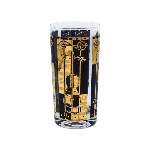 Mid Century Black & Gold Music Themed Highball Glass