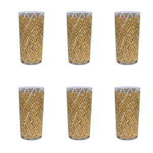 Set of 6 (six) 22k Gold Diamond Highball Glasses