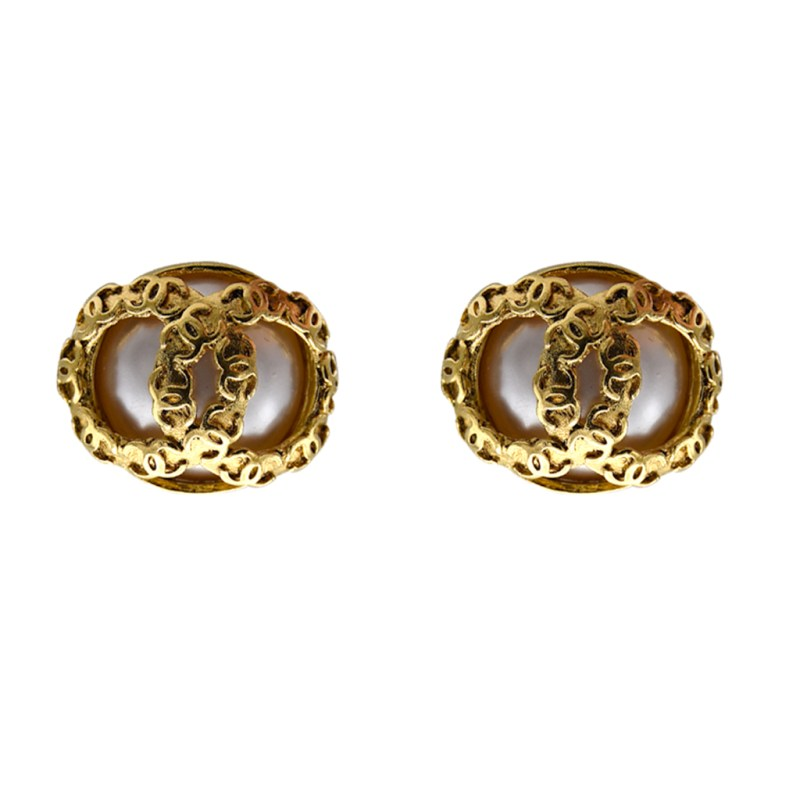vChanel Gilt Mabe Pearl Earrings with Overlapping Logos, Spring 1994Chanel Gilt Mabe Pearl Earrings with Overlapping Logos, Spring 1994
