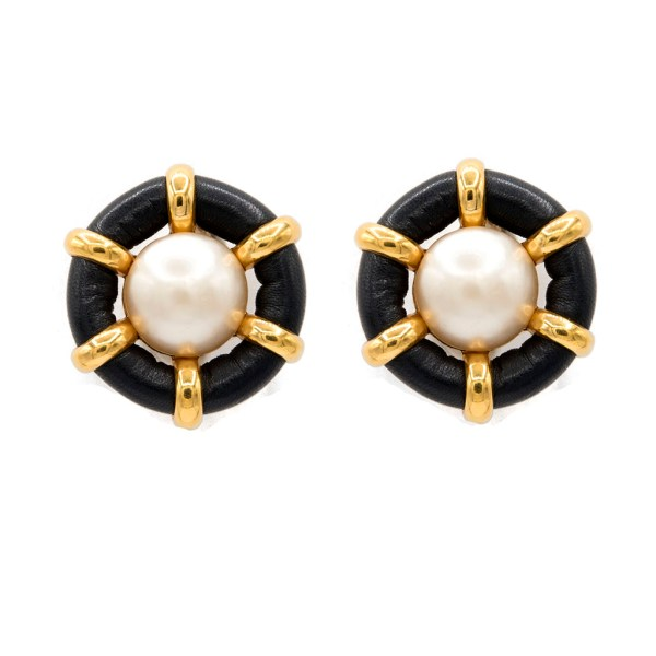 "Chanel 1 1/2"" Mabe Pearl Earrings Framed in Navy Lambskin, Spring 1992"