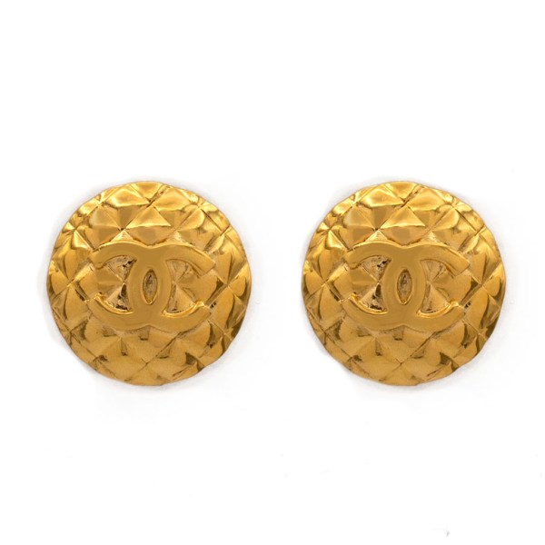 """Chanel 1 3/8"""" Gilt Quilted Logo Disk Earrings, 1986"""
