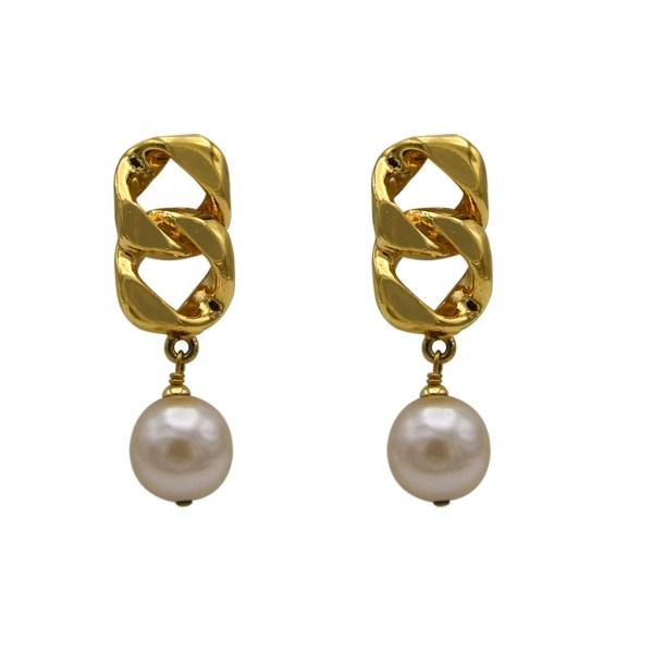 Chanel Gilt Chain Link & Pearl Drop Earrings, 1989