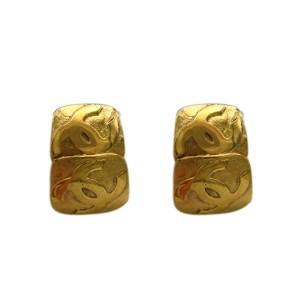 Chanel Double Gilt Square Earrings, 1992