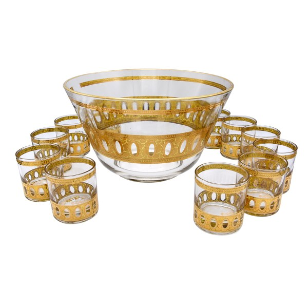 Set of 11 Culver Antigua Small Rocks Glasses and Bowl in 22k Gold