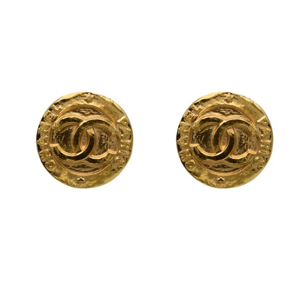 "Chanel Matte Gold ""CHANEL & Star"" Disk Earrings, 1991"