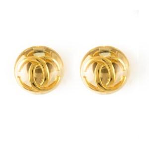 Chanel Rare Lucite Encased Logo Earring, 1988