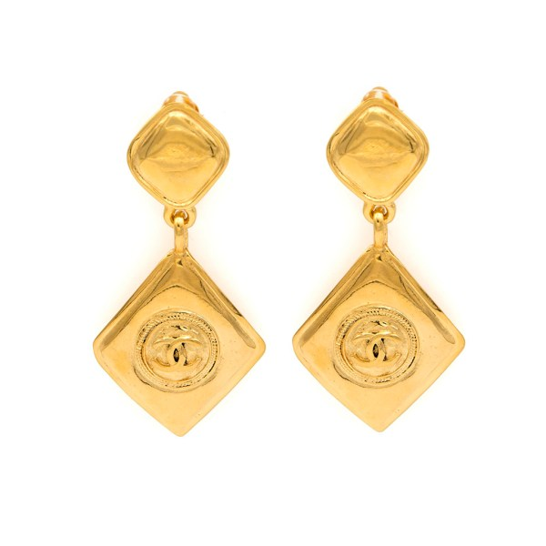 Chanel Double Diamond Dangle Earrings, 1990