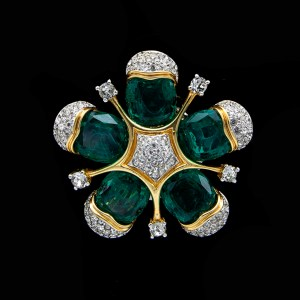 Jomaz Stylized Emerald Paste Flower Brooch, 1975