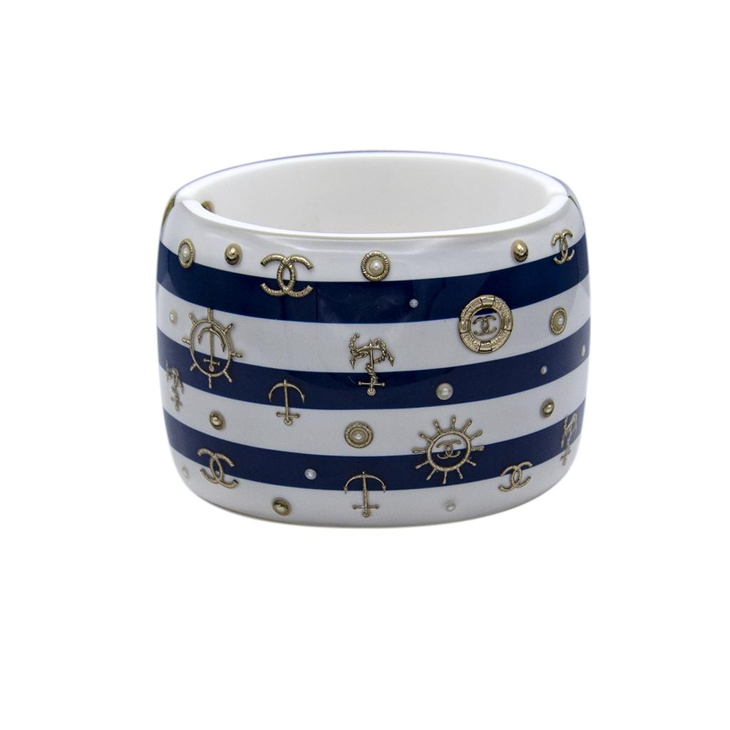 Chanel Nautical Blue & White Acrylic Bangle, Cruise 2010