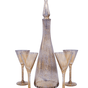 Dorothy Thorpe Gold Fleck Decanter & Flutes
