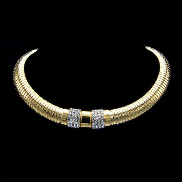 """Ciner 16 1/2"""" Gilt Ribbed Gashose Collar Necklace with Gold & Pave Front Panels, 1980"""