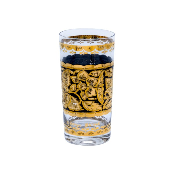 Georges Briard Black & Gold Floral Highball Tumblers, Set of Eight (8)