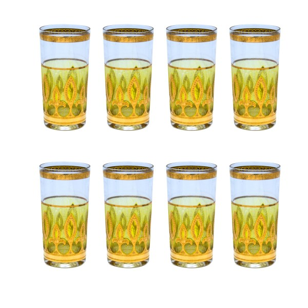 Culver Green & Gold Fleur de Lis Highball Glasses, Set of Eight (8)