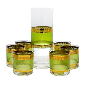 """Product Photo for Culver """"Starlyte"""" Pitcher & Six (6) Small Rocks Glasses"""